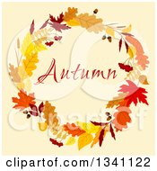 Clipart Of A Colorful Autumn Leaf Wreath With Text 14 Royalty Free Vector Illustration