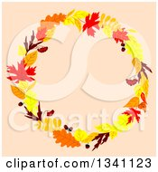 Clipart Of A Colorful Autumn Leaf Wreath Over Pastel Pink 4 Royalty Free Vector Illustration