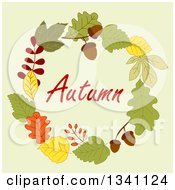 Clipart Of A Colorful Autumn Leaf Wreath With Text 13 Royalty Free Vector Illustration