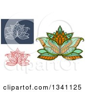 Clipart Of Beautiful Henna Lotus Flowers Royalty Free Vector Illustration