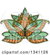 Clipart Of A Beautiful Green And Orange Henna Lotus Flower Royalty Free Vector Illustration
