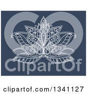 Clipart Of A White Henna Lotus Flower On Blue 4 Royalty Free Vector Illustration
