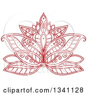 Clipart Of A Beautiful Red Henna Lotus Flower 5 Royalty Free Vector Illustration
