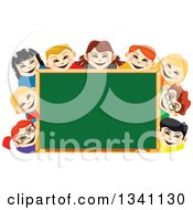 Clipart Of Happy School Children Smiling Around A Blank Chalk Board Royalty Free Vector Illustration