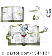 Clipart Of A Cartoon Face Hands And Geometry Math Books Royalty Free Vector Illustration