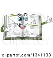 Clipart Of A Cartoon Geometry Math Book Character Giving A Thumb Up Royalty Free Vector Illustration