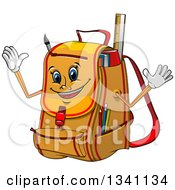 Clipart Of A Cartoon Yellow Backpack Character Royalty Free Vector Illustration by Vector Tradition SM