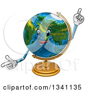 Cartoon Desk Globe Character Pointing And Holding Up A Finger