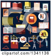 Clipart Of Flat Design Educational Items On Navy Blue Royalty Free Vector Illustration by Vector Tradition SM