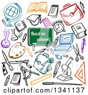 Clipart Of A Back To School Chalkboard And Sketched Supplies Royalty Free Vector Illustration by Vector Tradition SM