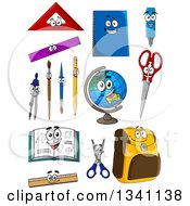 Clipart Of Cartoon School Supply Characters Royalty Free Vector Illustration by Vector Tradition SM