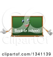 Clipart Of A Cartoon Chalkboard Character With Back To School Text Royalty Free Vector Illustration