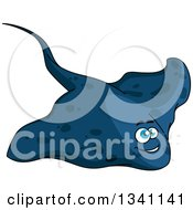 Clipart Of A Cartoon Blue Happy Sting Ray Royalty Free Vector Illustration