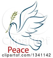 Clipart Of A Sketched Flying Navy Blue Peace Dove With A Branch And Text 3 Royalty Free Vector Illustration