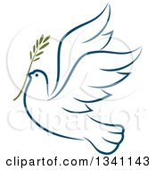 Clipart Of A Sketched Flying Navy Blue Peace Dove With A Branch 3 Royalty Free Vector Illustration by Vector Tradition SM