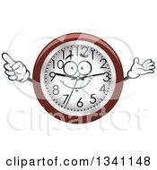 Clipart Of A Cartoon Wall Clock Character Royalty Free Vector Illustration