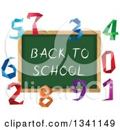 Clipart Of A Back To School Chalk Board Surrounded By Colorful Origami Numbers Royalty Free Vector Illustration