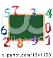 Clipart Of A Blank Chalk Board Surrounded By Colorful Origami Numbers Royalty Free Vector Illustration