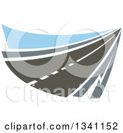 Clipart Of A Two Lane Highway Road With Blue Royalty Free Vector Illustration
