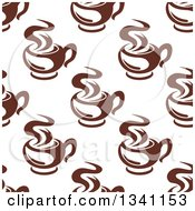 Clipart Of A Seamless Background Pattern Of Steamy Brown Coffee Cups 13 Royalty Free Vector Illustration