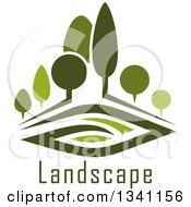 Clipart Of A Green Park With Trees Over Landscape Text Royalty Free Vector Illustration