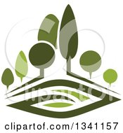 Clipart Of A Green Park With Trees Royalty Free Vector Illustration by Seamartini Graphics