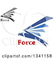 Clipart Of Blue And Black Flying Eagles With Force Text Royalty Free Vector Illustration