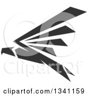 Clipart Of A Dark Gray Flying Eagle Royalty Free Vector Illustration