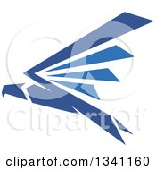 Clipart Of A Blue Flying Eagle Royalty Free Vector Illustration