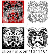 Clipart O Celtic Knot Crane Or Heron Designs Royalty Free Vector Illustration