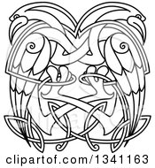 Clipart Of Black And White Lineart Celtic Knot Cranes Or Herons Royalty Free Vector Illustration