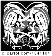 Clipart Of White Celtic Knot Cranes Or Herons On Black Royalty Free Vector Illustration