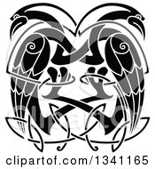 Clipart Of Black And White Celtic Knot Cranes Or Herons Royalty Free Vector Illustration
