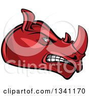 Clipart Of A Cartoon Angry Red Rhinoceros Head In Profile 4 Royalty Free Vector Illustration by Seamartini Graphics