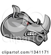 Clipart Of A Fierce Gray Rhino With Red Eyes Facing Right 3 Royalty Free Vector Illustration by Seamartini Graphics