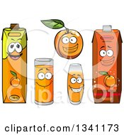 Clipart Of A Cartoon Apricot Character And Juices 3 Royalty Free Vector Illustration
