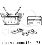 Clipart Of A Black And White Sketched Shopping Basket Credit Card And Coins Royalty Free Vector Illustration