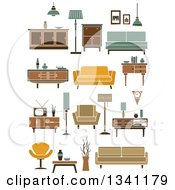 Clipart Of Retro Household Furniture 7 Royalty Free Vector Illustration
