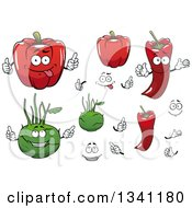 Clipart Of Pepper And Kolhrabi Vegetables Royalty Free Vector Illustration