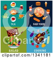 Poster, Art Print Of Flat Tea Fast Food Salad And Cooking Designs
