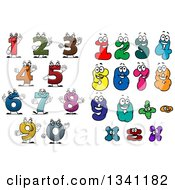 Clipart Of Colorful Cartoon Number Characters Royalty Free Vector Illustration