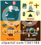 Clipart Of Flat Canadian Travel And Nature Designs Royalty Free Vector Illustration
