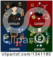 Clipart Of Flat Jewelery Luxury And Fashion Designs Royalty Free Vector Illustration