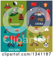 Clipart Of Flat Chinese History Culture And Nature Designs Royalty Free Vector Illustration