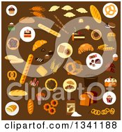 Clipart Of Flat Design Baked Goods On Brown Royalty Free Vector Illustration by Vector Tradition SM