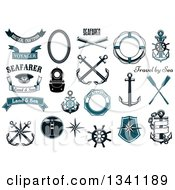 Clipart Of Nautical Design Elements Royalty Free Vector Illustration