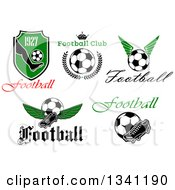 Clipart Of Football Soccer Sports Designs Royalty Free Vector Illustration