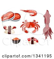 Clipart Of A Squid And Seafood Royalty Free Vector Illustration