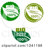 Clipart Of Green Bio Product Leaf Labels Royalty Free Vector Illustration