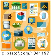 Poster, Art Print Of Flat Design Business Icons On Yellow